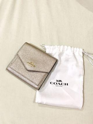 Coach Small Wallet in Metallic Leather