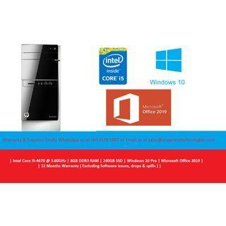 [Refurbished] Hewlett-Packard (HP) Pavilion 500-300 | Intel Core i5-4670 @3.60GHz | 8GB DDR3 RAM | 240GB SSD | Windows 10 Pro | Microsoft Office 2019 | 12 Months Warranty |