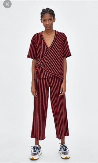 Zara Wrap Red Black Stripes