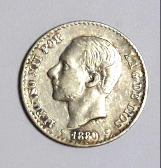 1880 Alfonso XII Silver Coin