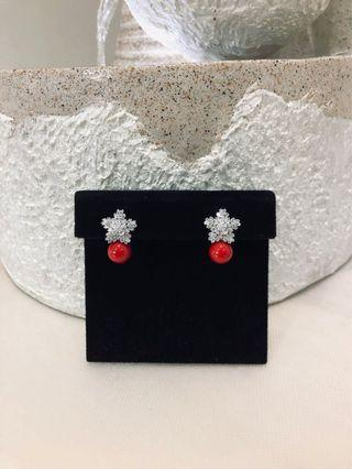 RED PEARL STUDS SIMILAR TO DIOR*