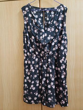 Black flower playsuit with pockets