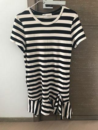 Black & white stripe one piece dress