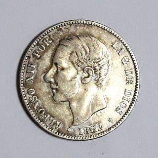 1885 Alfonso XII Silver Coin