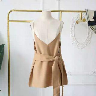春裝新款韓版寬鬆吊帶綁帶呢子背心上衣女