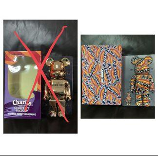 Willy Wonka Charlie Chocolate Factory Golden Ticket Dickies 400% Bearbrick #ENDGAMEyourEXCESS