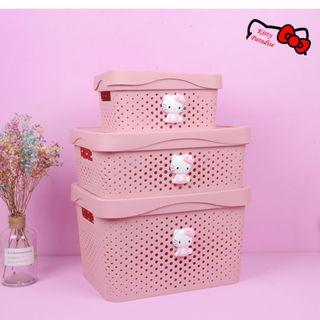3pcs Hello Kitty Container Case Storage Box Organiser #EST50