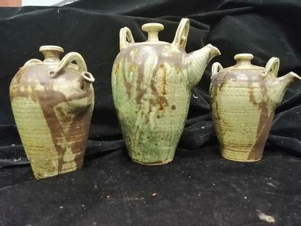 Glazed Pottery Tea Pot Set of 3