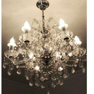 Crystal Chandelier (6-bulbs, or 3 bulbs, or both together)