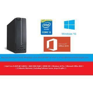 [Refurbished] Acer XC-605 | | Intel Core i5-4670 @3.80GHz | 8GB DDR3 RAM | 240GB SSD | Windows 10 Pro | Microsoft Office 2019 | 12 Months Warranty |