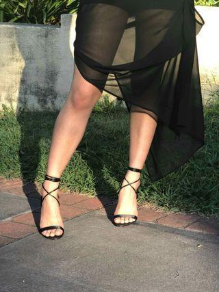 Black Strappy Missguided Stiletto Heels