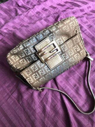 07838faa2177 Auth FENDI Mamma Baguette Zucca Pattern Shoulder Bag