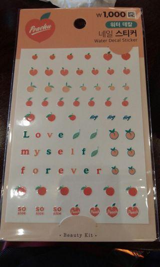 Daiso Peach Water Decal Sticker