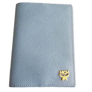 Authentic MCM Daphne Light Blue Leather Passport Holder