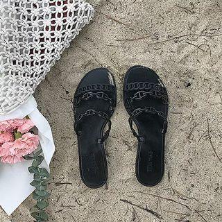 拖鞋女夏時尚室外穿2019新款韓版網紅平底度假沙灘一字涼拖