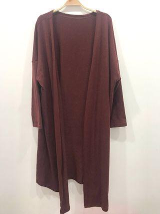 🚚 酒紅色針織長版外套 #半價衣服拍賣會