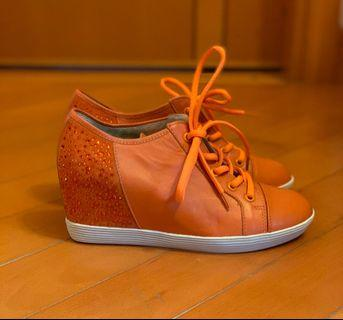 橙色閃閃內高跟鞋 Orange bling bling shoes