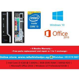[Refurbished] Acer X4630G Small Form Factor| Intel Core i3-4160@3.60GHz | 8GB DDR3 RAM | 500GB HDD | Microsoft Office 2016 | Windows 10 Professional 64 Bit | 6 Months Warranty