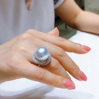 南洋珍珠白金鑽石戒指