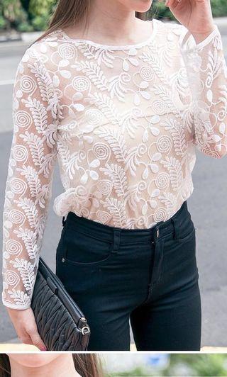🚚 Mercci22 透肌蕾絲上衣(附平口上衣)#半價衣服拍賣會