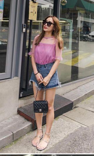 🚚 Mercci22 荷葉網紗上衣(粉紫色)#半價衣服拍賣會