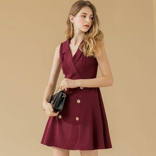 [全新 未剪牌] 西裝風 暗紅 傘襬 無袖 連身裙 EYESCREAM 韓國品牌 斯文裙 番工