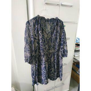 Dark Blue Blouse Dress Pattern Club Monaco