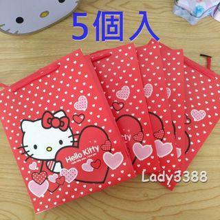 🚚 Hello kitty KT紅手提包裝禮物紙袋  五入組 W181