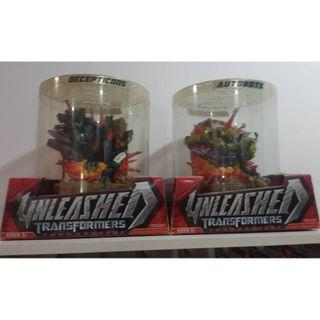 TRANSFORMERS THE MOVIE UNLEASHED STATUE SET OF 2