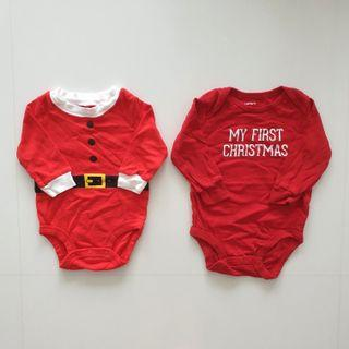 Carter's Christmas Rompers 3mth 6mth