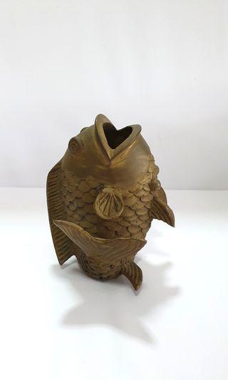 Brass Fish Vase Display