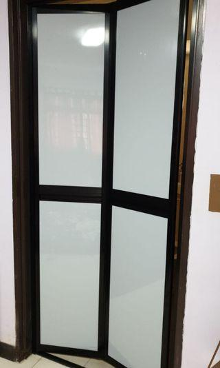 Toilet Bifold Door ( Black Frame)