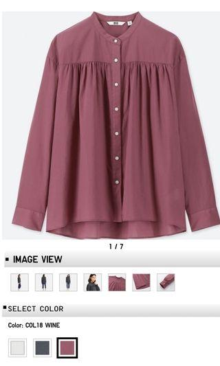 Soft Cotton Stand Collar Long Sleeve in Wine