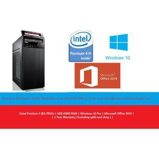 [Refurbished] Lenovo E92 Mini Tower | Pentium 4 @ 2.70GHz | 4GB DDR3 | 500GB HDD | Windows 10 Pro | Microsoft Office 2019 | 12 Months Warranty |