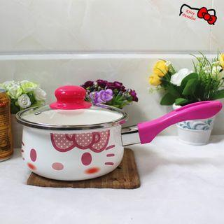 16cm Hello Kitty Single Handle Porcelain Enameled Cooking Pot Milk Pot (Blush) XY835006C #EST50