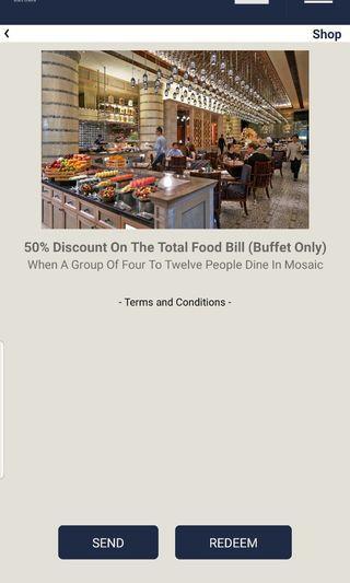 50% off on buffet at Mosaic Mandarin Oriental Hotel
