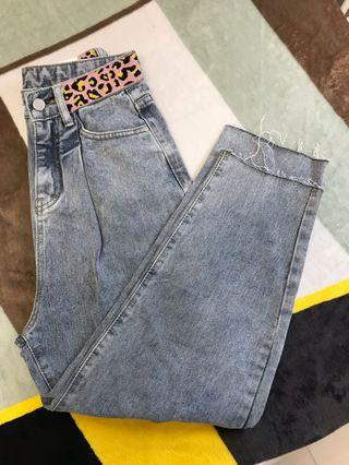 🚚 豹紋褲頭牛仔褲👖