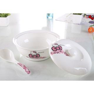Hello Kitty Ceramic Soup Bowl with Cover and Spoon Kitchenware Dinnerware (Ribbon) ASJ244106C #EST50