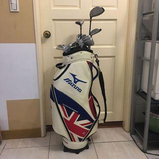 二手日本製HONMA專業高爾夫球桿組+Mizuno美津濃球袋