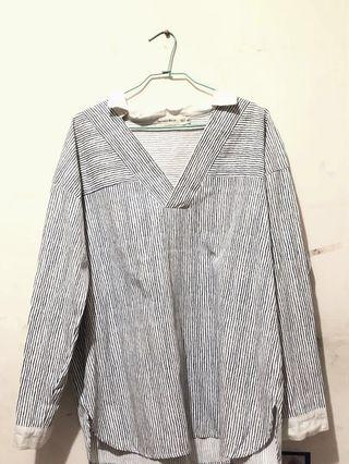 🚚 襯衫挺版上衣 藍白色條紋 #半價衣服拍賣會