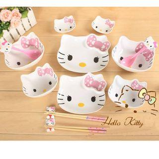 14pcs Hello Kitty Head Ceramic Dining Set Dinnerware Tableware Kitchenware (Pink) LMM9145049C #EST50