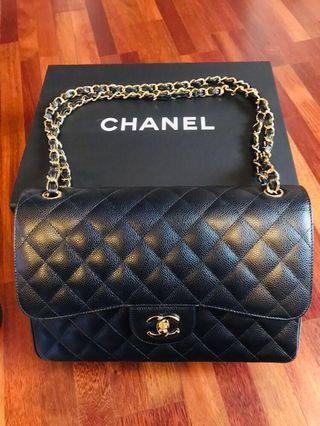 Authentic Chanel Classic Jumbo Flap Calf Skin Handbag