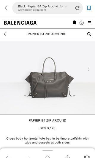 Balenciaga Papier B4 Zip Around Tote
