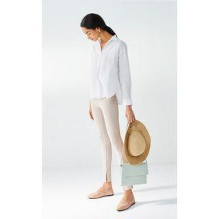 Uniqlo Premium Linen Skipper Collar Long Sleeve Shirt