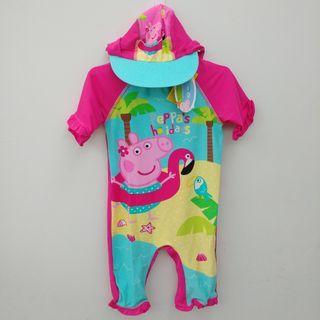 💖限量💖 (12-18m/18-24m/2-3T) 出口英國 女童嬰兒BB 防曬全身連身泳衣泳褲+護頸帽 原裝連衣架