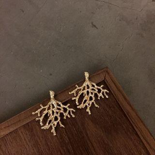 歐美復古風格珊瑚金屬古著大耳環