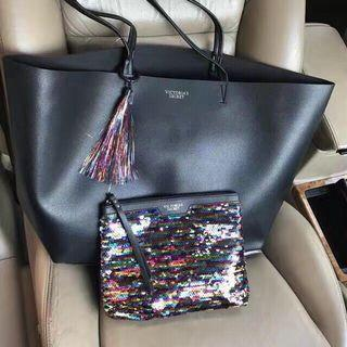 VS shopping Bag With Victoria Keychain/Shinny Clutch