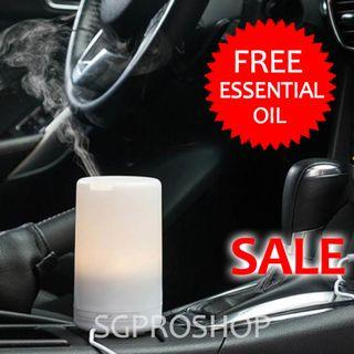 Free Essential Oil. USB Muji Style Aroma Diffuser. 7 LED Colours. For Car / Office / Bedroom use. Air Humidfier and Purifier