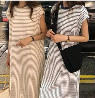 Korean new fashion ulzzang new chic retro vintage temperament summer autumn spring winter student college wind simple design striped long 2019 round neck collar long dress