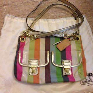 🚚 Genuine Coach Stripped Poppy Cross body Bag
